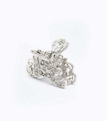 Silver Crystal Embellished Filigree Bulldog Clip New Look