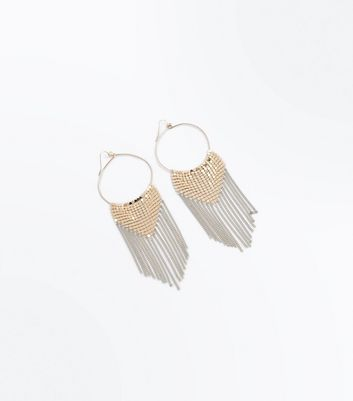 Gold Chain Mail Waterfall Oversized Drop Earrings New Look