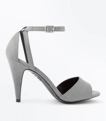 Grey Suedette Cut Out Cone Heel Sandals New Look