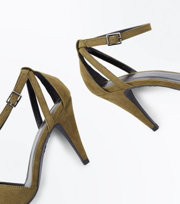 Khaki Suedette Cut Out Cone Heeled Sandals New Look
