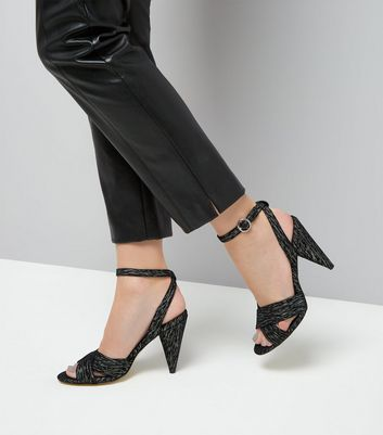 Black Iridescent Cross Strap Cone Heel Sandals New Look