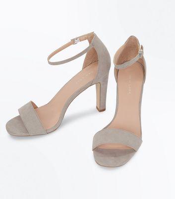 Grey Suedette Slim Block Heel Sandals New Look