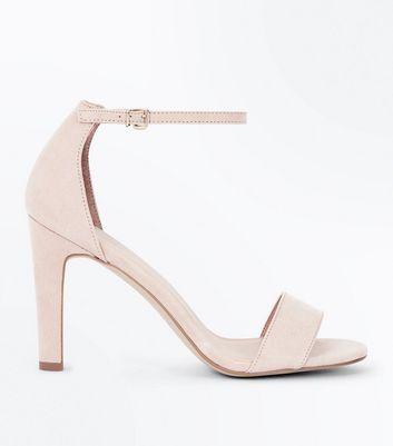Nude Suedette Slim Block Heel Sandals New Look