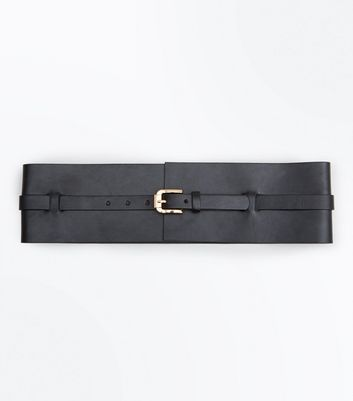 Black Wide Buckle Waist Belt New Look
