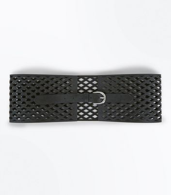 Black Laser Cut Wide Waist Belt New Look