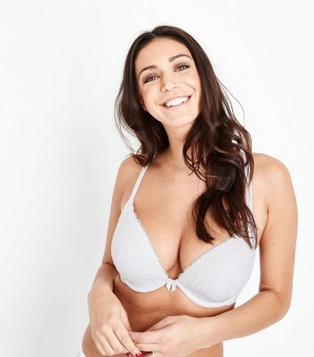White Lace Trim Push Up Bra New Look