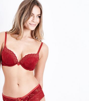 Red Lace Trim Push Up Bra New Look