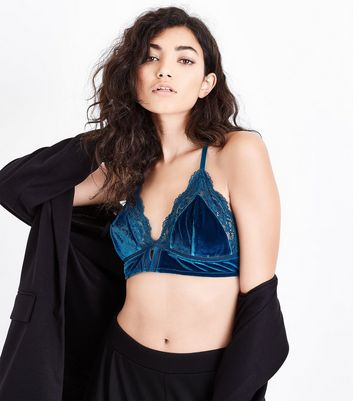 Petrol Blue Velvet Lace Trim Bralet New Look