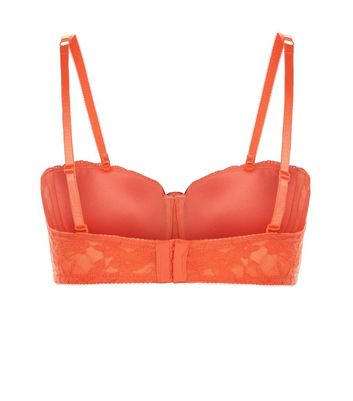 Orange Lace Strapless Bra New Look