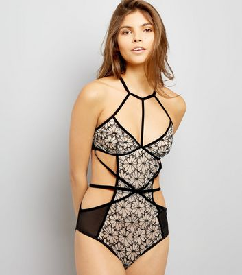 Black Floral Embroidery Cut Out Bodysuit New Look