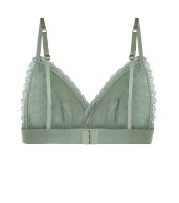Green Lace Trim Bralet New Look