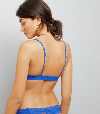 Blue Lace Trim Bralet New Look