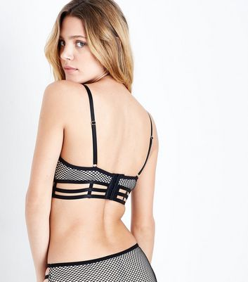 Black Strappy Fishnet Bralet New Look