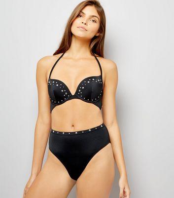 Black Stud Multi Strap Underwired Bikini Top New Look