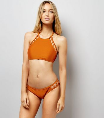 Rust Ring Detail Low Rise Bikini Bottoms New Look