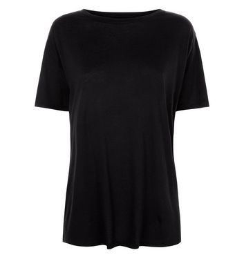 Black Corset Back Longline T-Shirt New Look
