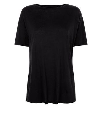 Black Corset Back Longline T-Shirt New Look