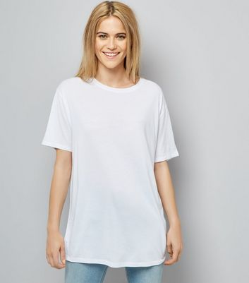 White Corset Back Longline T-Shirt New Look