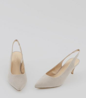 Grey Suedette Sling Back Cone Heels New Look