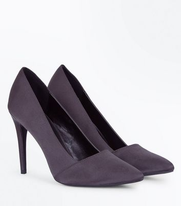 Grey Satin Pointed Court Shoes New Look