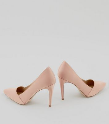 Nude Satin Pointed Court Shoes New Look