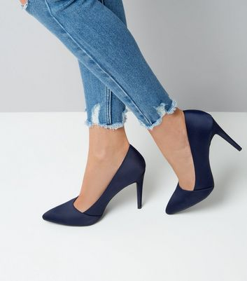 Navy Satin Pointed Court Shoes New Look
