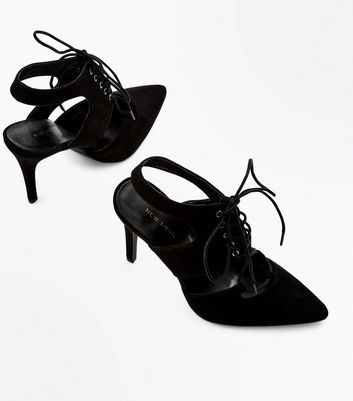 Black Suedette Lace Up Cut Out Pointed Heels New Look