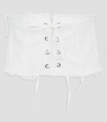 Cameo Rose White Frayed Corset Belt New Look