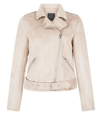 Pink Suedette Biker Jacket New Look