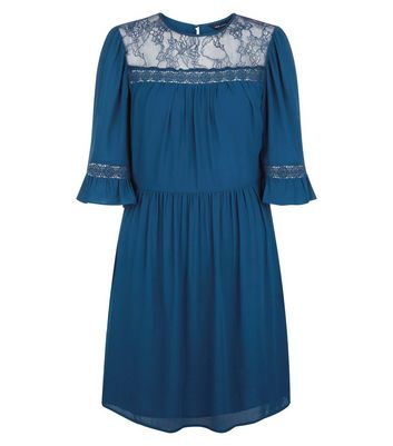 Navy Lace Neck Smock Dress New Look