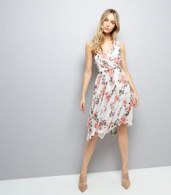 White Floral Print Midi Dress New Look