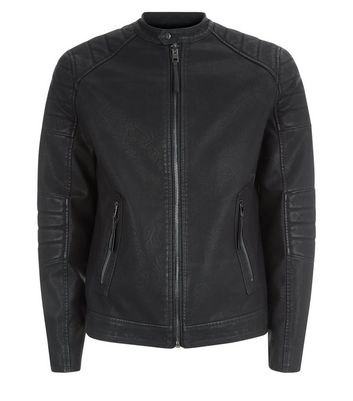 Black Leather-Look Zip Front Jacket New Look