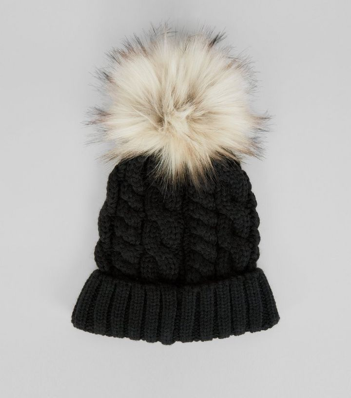 9e22eb7fd Black Faux Fur Pom Pom Bobble Hat Add to Saved Items Remove from Saved Items