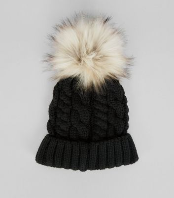 Black Faux Fur Pom Pom Bobble Hat New Look