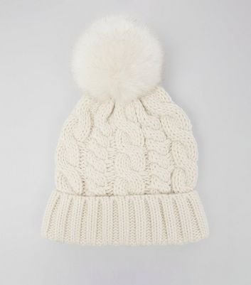 Cream Faux Fur Pom Pom Bobble Hat New Look