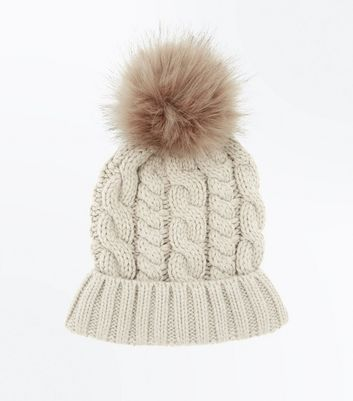 Mink Cable Knit Faux Fur Bobble Beanie New Look