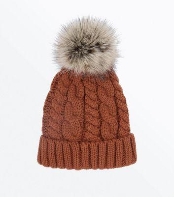 Chestnut Faux Fur Bobble Beanie New Look