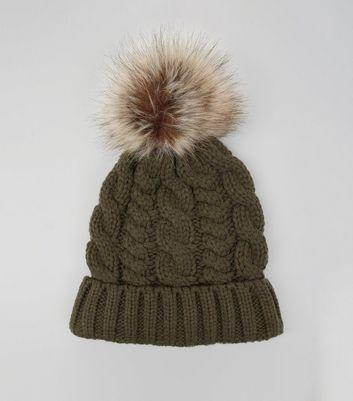 Khaki Faux Fur Pom Pom Cable Bobble Hat New Look