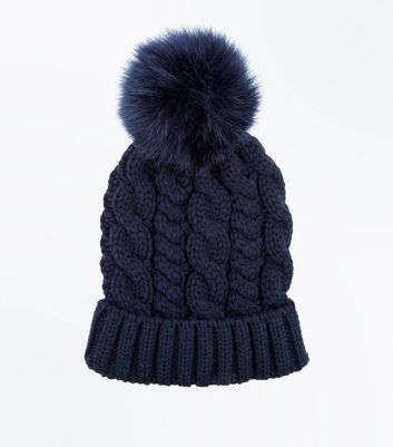 Navy Cable Knit Faux Fur Pom Pom Bobble Beanie New Look