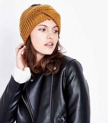 Mustard Knit Twist Front Headband New Look