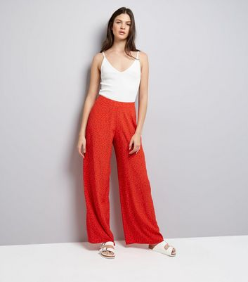 Red Spot Print Wide Leg Trousers New Look