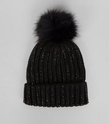 Black Diamante Embellished Bobble Hat New Look
