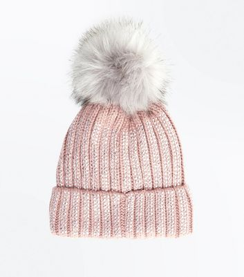 Pink Diamante Embellished Bobble Hat New Look