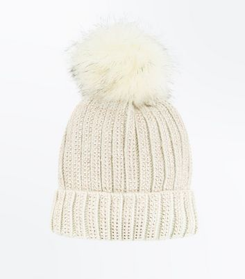 Rose Gold Faux Fur Bobble Beanie New Look