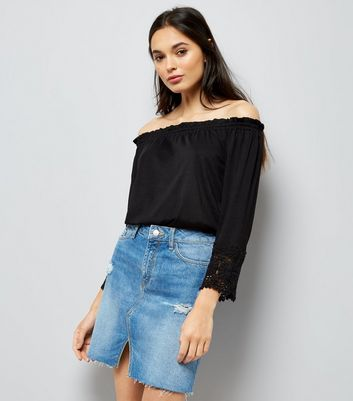 Black Crochet Trim Shirred Bardot Neck Top New Look