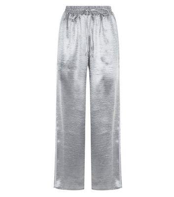 Pink Vanilla Silver Satin Wide Leg Trousers New Look