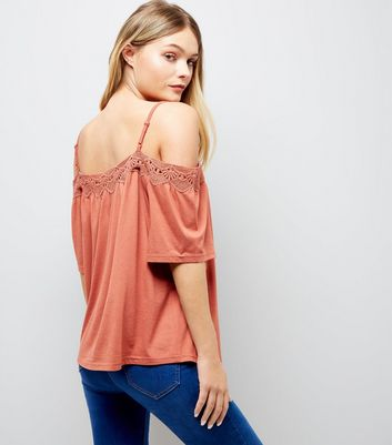Light Brown Crochet Trim Cold Shoulder Top New Look
