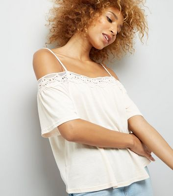 Pale Pink Crochet Trim Cold Shoulder Top New Look