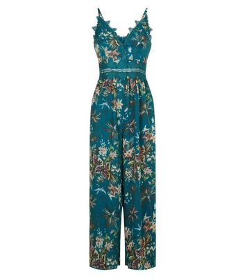 Green Tropical Print Culotte Jumpsuit New Look