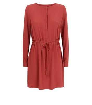 Light Brown Grandad Collar Dress New Look